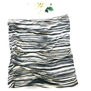 Free People Black&Cream Striped Mini Skirt